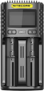 Nitecore UMS2 USB Universal 2-Port Speedy Charge Smart Charger for Li-Ion/Ni-MH/Ni-Cd/IMR 26650 22650 21700 20700 18650 18...