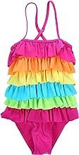Little Girls Ruffled Rainbow Striped Bathing Suits Bikini Swimwear