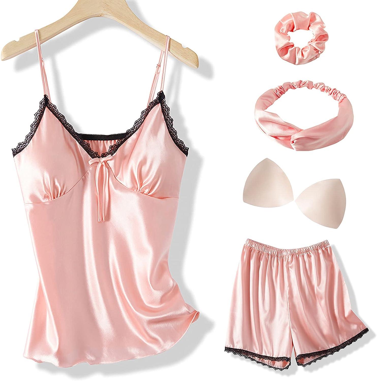Arwser Silk San Diego Mall Pajamas for Women 4 Set Cami Ranking TOP17 Satin Lace Shorts Piece