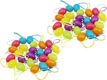 com-four® 48 Ostereier zum Aufhängen in unterschiedlichen Pastellfarben, Größe: 4 cm (48 Stück - Pastellfarben)