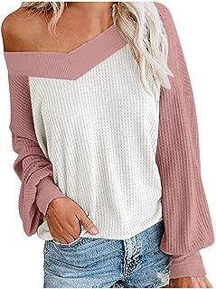 LEKODE Sweater Women's V-Neck Splice Long Sleeve Knit