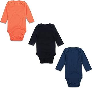 OPAWO Unisex Baby 3-Pack Long Sleeve Bodysuits Neutral Color Lap Shoulder Romper 0-24 Months