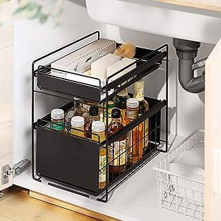 YLKCU Porte épices Organisateur sous évier sous étagère d'évier sous évier Rangement Cuisine Panier Coulissant à 2 Niveaux...