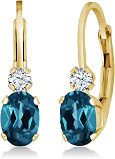 Gem Stone King 1.18 Ct Oval London Blue Topaz White Created Sapphire 14K Yellow Gold 3/4 Inch Earrings