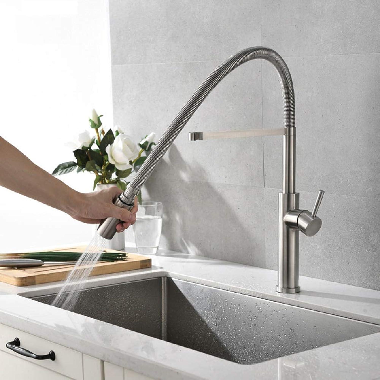 Moderne versenkbare Küchenarmatur mit ausziehbarem Spülbecken 360 ° schwenkbare ausziehbare Küchenarmatur Nickel gebürstet - Edelstahl,C