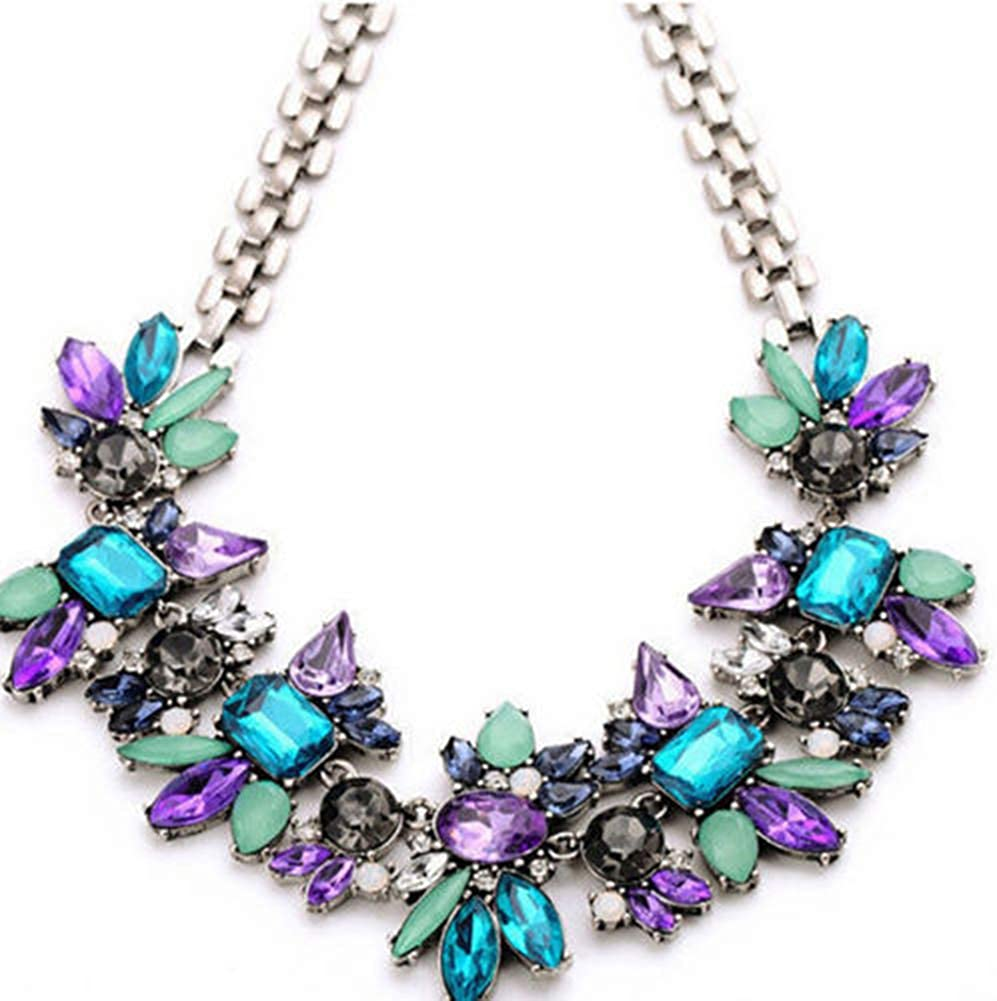 MileHouse Fashion Pendant Necklace for Women, Jewelry Statement Bib Collar Colorful Rhinestone Chain Necklace