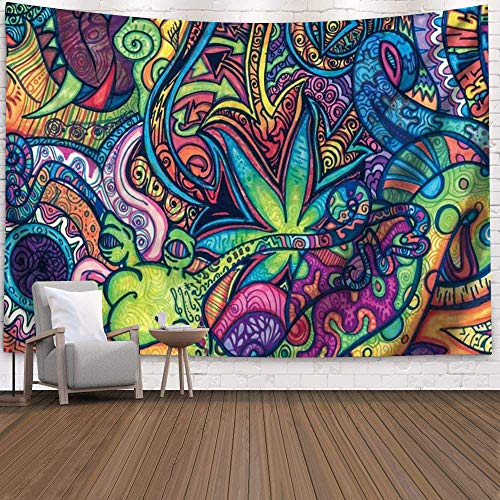 Qchengsan Flower Psychedelic Tapestry, Abstract Unusual Figure with Color and Form Details Hippie Arabesque Retro Pattern, Wall Hanging for Bedroom Living Room Dorm (59 x51 inch)