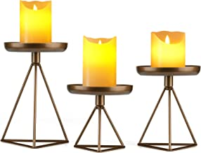 "Bikoney Candle Holder for Home Decor Candleholder for Pillar Candle Metal Geometric Candlesticks Set of 3 7.25"", 5.5"", 4.5..."