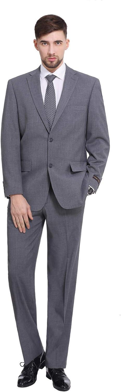 P&L Men's 2-Piece Classic Fit 2 Button Office Dress Suit Jacket Blazer & Pleated Pants Set Grey