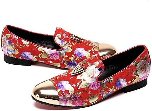 Mr.Zhang's Art Home Men's zapatos Zapaños Puntiagudos rojos para hombres, Impresos, TransPiñables, hombres de Negocios Casuales
