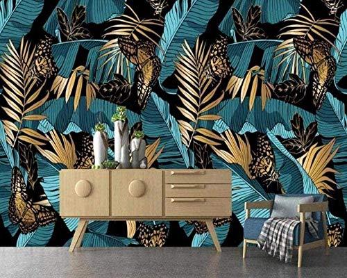 Lovemq Fototapete 3D Effekt Tapete Abstrakter Blauer Gold Tropischer Pflanzenbananenblattweinlese Vliestapete 3D Tapeten Wanddeko Wandbilder Wohnzimme-240X165Cm