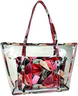 Two Bag Set Floral Print Women crossbody bags Girl two bag Transparent PVC Shoulder Bag Handbag Plastic Summer Beach Cross...