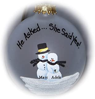 He Asked.She Said Yes! Engagement Proposal Ornament Decoration
