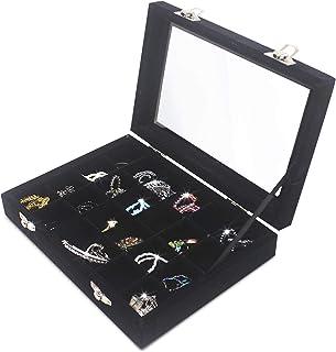 Hivory Clear Lid 24 Grid Small Jewelry Box ~ Showcase Display Storage for Rings Earrings Bracelet (Black)