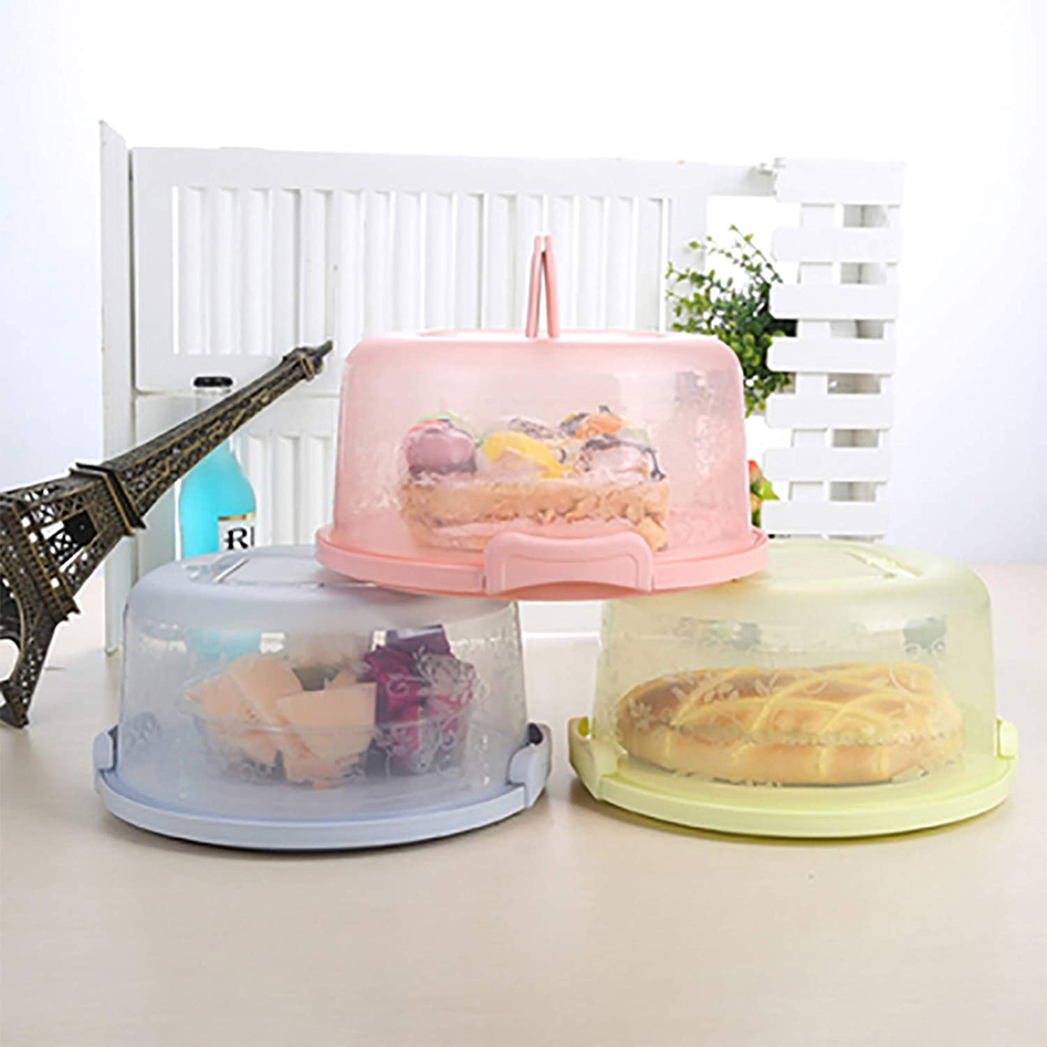 Green Cake Keeper Small Cake Carrier With Server And Handle Suitable for 8 inch Diameter and 4 inch Height Small Cake Cake Box Home Baking Storage Box