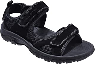 CAMEL CROWN Men's Synthetic Leather Sandals Open-Toe Beach Sandal Waterproof for Athletic Outdoor Summer Black