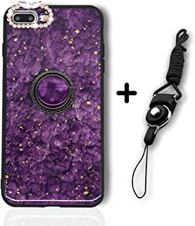 iPhone 7 Plus/8 Plus Case for Girl Women, Girly Glitter Diamond Rhinestone Bumper with Ring Kickstand Sparkly Protective Phone Case with Camera Protection for iPhone 7/8 Plus 5.5 Inch (Marble Purple)