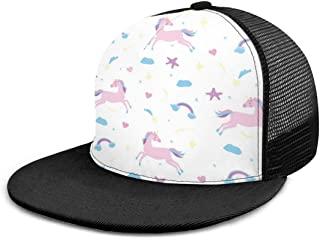 SLHFPX Baseball Cap Mesh Back Unicorn Love Stars Adjustable Snapback Sun Trucker Hat