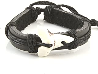 Shark Tooth Leather Bracelet - Adjustable Cord Surfer Bracelet