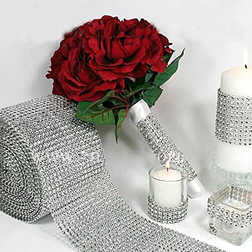 Diamondo Silver Wedding Diamond Mesh Wrap Roll Sparkle Rhinestone Looking Ribbon