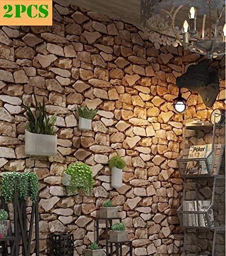2PCS Steintapete 3d Optik,Tapete Steinoptik Moderne Wanddeko Design PVC Stone Wallpaper Wandtapete Wand Dekoration Steintapete Steine Stein Mauer Steinoptik,0.53m*10m (Dunkel Braun-2 Roll)