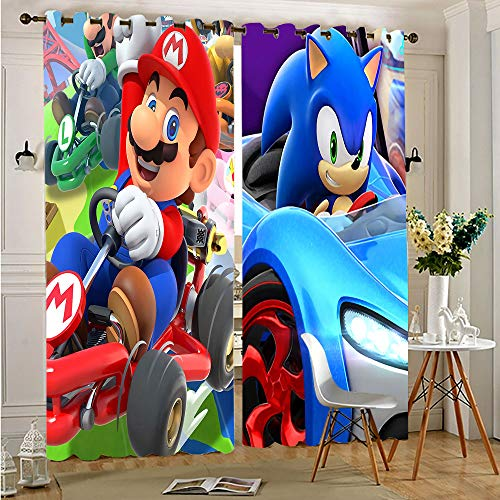 """sashimii S-uper-M-Ario Bros Characters VS Sonic Grommet Curtains Thermal Insulated Curtain Decorative Energy Efficient Curtain Panel Adorable and Lifable Drapes for Bedroom 55""""x72""""Inch"""
