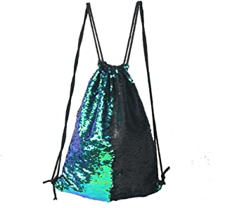 WolinTek Mermaid Drawstring Bag Sac Sir/ène Sequins Sac /à Dos /à Cordon avec Sequins r/éversible sir/ène avec Bandeau Sac de Danse Scintillant Magique pour Femmes Filles ado