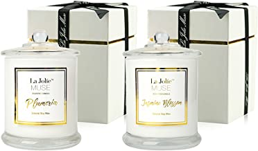 LA JOLIE MUSE Scented Candles Pack 2 Plumeria and Jasmine, 20 Ounce, Natural Soy Wax, Holiday for Women