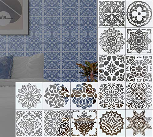 ZJW 16Pcs Mandala Painting Template Stencils for DIY Art Craft,Scrapbooking Albums, Airbrush Painting Stencil on Wood, Stone Rocks and Walls Art