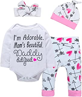 c57148c3a23f Baby Girl Clothes Cute Letter Romper + Arrow Heart Pants + Headband + Hat  Happy Mother s