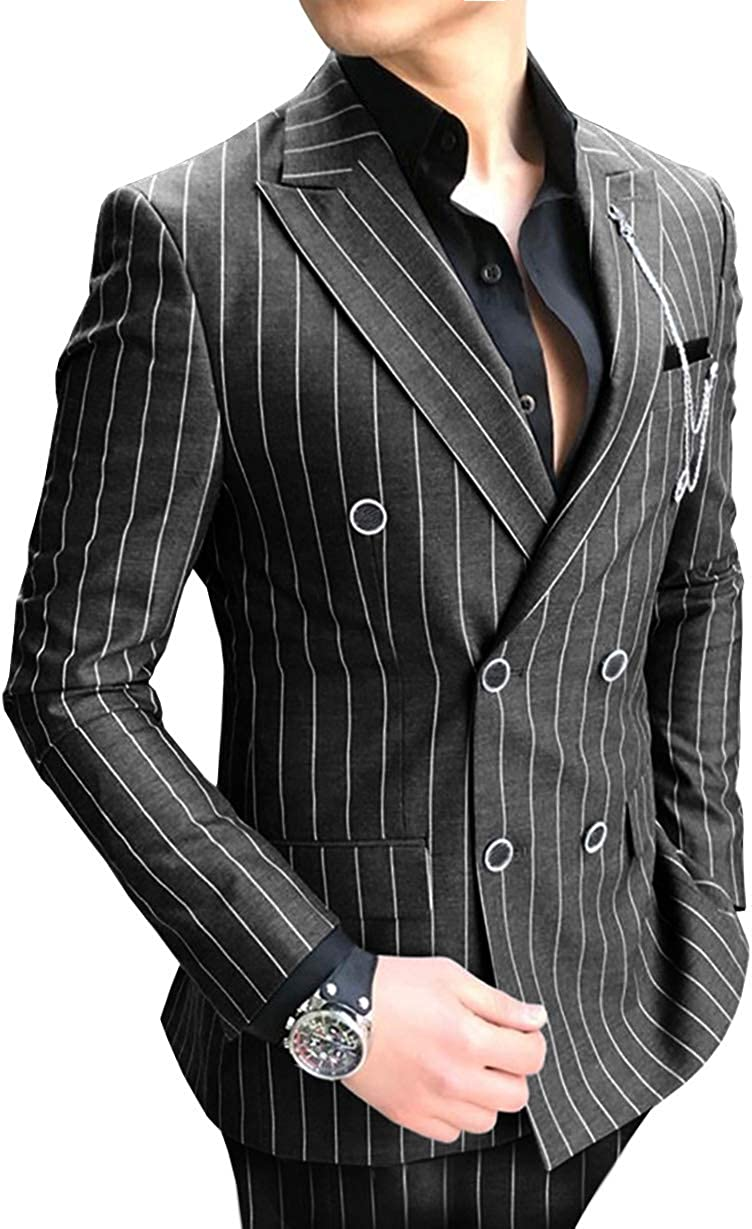 Aesido Casual Men's Suit Slim Superior Fit Piece Business Wool 2 Striped NEW before selling