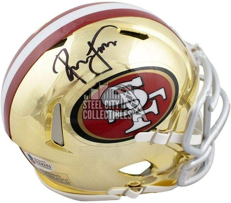 Signed Ronnie Lott Helmet  Chrome Mini BAS Black  Beckett Authentication  Autographed NFL Mini Helmets