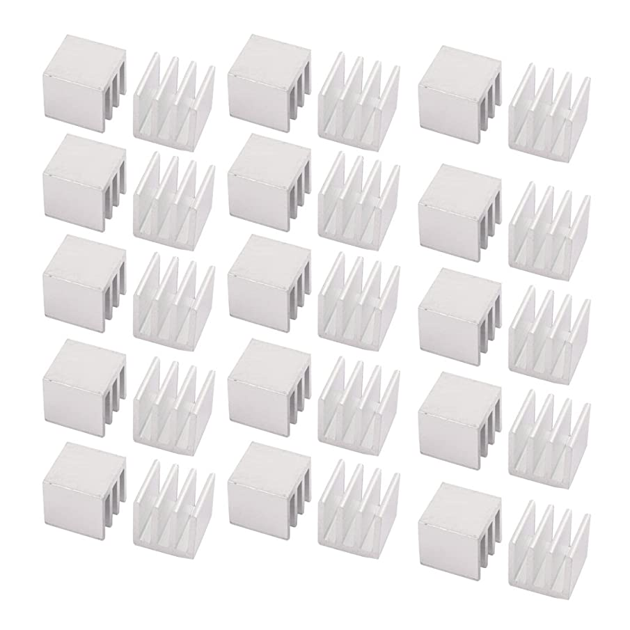 uxcell 30Pcs 10mm x 10mm x 10mm Aluminum Heatsink Radiator Cooling Fin Silver Tone