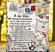 Minyose Manta De Franela para Mi Hija Mensaje Carta Edredón Manta Idiomas Españoles Imprimir Textiles para El Hogar Cama Sofá Express Love Blanket 130 * 150Cm