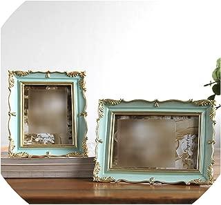 American Style Photo Frame Wedding Desktop Picture Frames Living Room Home Decor Resin Photo Frame Popular Gift,Light Green,6 inch