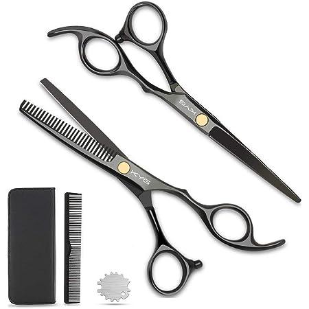 KYG Forbici da Barbiere Forbici Parrucchiere Nero Set per Assottigliamento Set Forbici per Capelli in Acciaio Inossidabile Forbici per Taglio Capelli