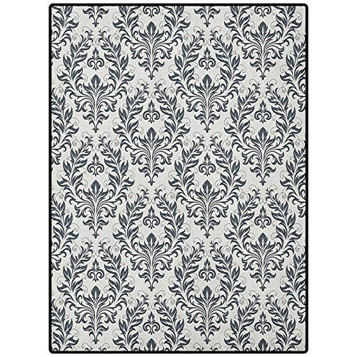 Victorian Luxury Rug Great for Decorating Bedroom Floral Ornament Damask Flourishes Classics Silhouette Fancy Symbolic Artwork Beige Grey 90' x 61'