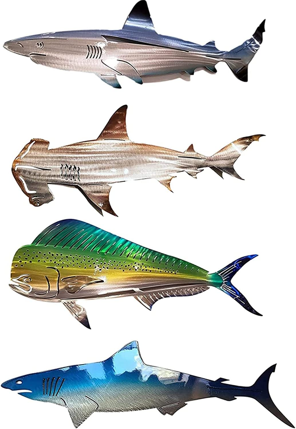 Metal Shark Art Wall Decor,Shark Metal Sculpture Outdoor Inspirational Wall Art Hanging Ornament for Home Nautical Decor Ocean Fish Decoration Patio or Pool(4Pcs,20in)