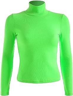 Women Patchwork Long Sleeve Crop Top Printed Turtleneck Streetwear T-Shirt