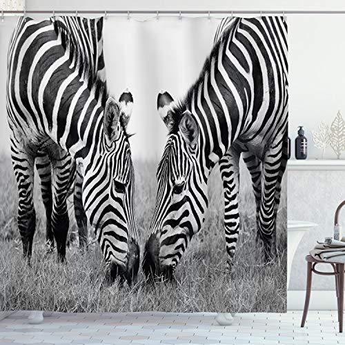 ABAKUHAUS Dier Douchegordijn, Wildlife Burchell, stoffen badkamerdecoratieset met haakjes, 175 x 180 cm, Zwart wit