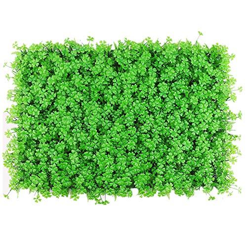 QiHaoHeji Jardin Vertical Artificial 12 Trébol Artificial Privacidad UV Boxwood Panel De Pared Verde Jardín Interior Y Al Aire Libre Plantas Artificiales (Color : Verde, tamaño : 60x40cm)
