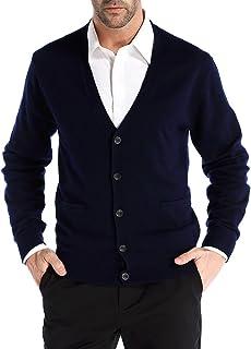 Kallspin 男式休闲 V 领开衫羊绒羊毛混纺纽扣带口袋