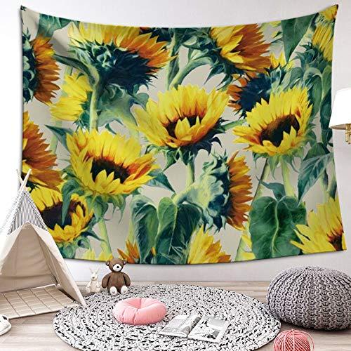 LIGICKY Gelbe Sonnenblume Wandteppich Blühende Sonnenblume Wandkunst Wandbehang Lebendige Natur Blume Wandbehang Boho Baumwolle Hippie Wandtuch/Meditation Yoga Mats(130 x 150cm