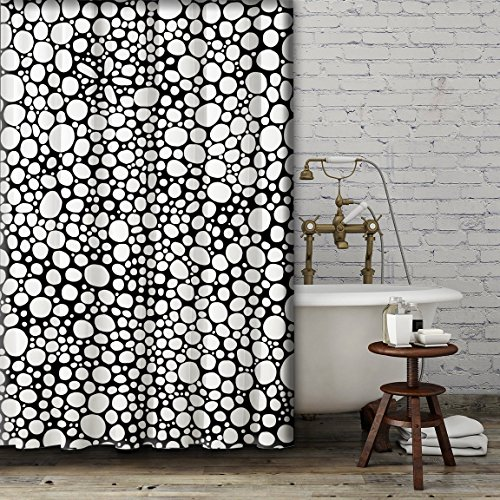 Black and White Shower Curtain. Modern unique bathroom accessories. Add a matching bath mat! Artwork by mixed media artist C.Cambrea.