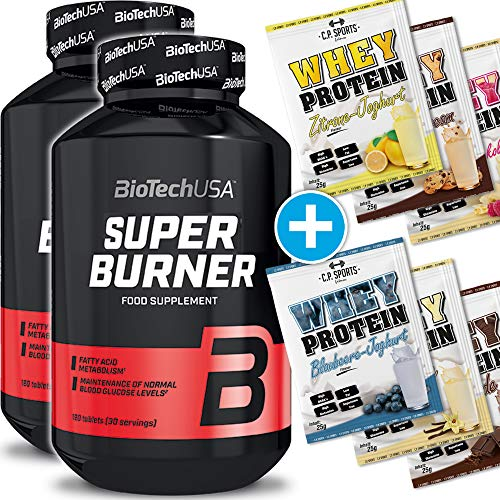 BioTech USA Super Burner 2er Pack, (240 Kapseln) + 6x C.P. Sports 25g Whey Testbeutel gratis hoch dosiert