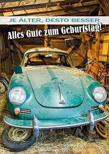 3 stuks dubbele kaart met envelop, kaart, wenskaart, verjaardagskaart Porsche Oldtimer