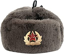 SKYROPNG Warm Hat,Soviet Badge Pilot Hat,Winter Cap Warm Gray Lei Feng Hat,Unisex Wild Outdoor Cycling Windproof,Women Men Ear Protection,Mountaineering Skiing Aircraft Cap Russian Trapper Hat