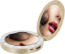 Shinngo Portable Charger Compact Lighting Makeup Mirror Power Bank 3.6inch 1x/3x Magnified 3000mAh as Gift for Friends, Girls, Mom Wife Daughter etc
