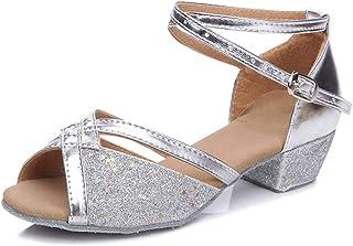 LSHEL Mujeres&Niña Zapatos Latinos de Baile Zapatillas de Baile de salón Salsa Tango Performance Calzado de Danza