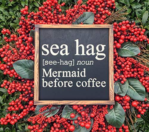 43LenaJon Sea Hag zeemeermin voor koffie, houten bord, handgemaakt, huwelijksgeschenk, huwelijksgeschenk, rustiek houten bord|boerderij decor